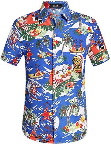 Tropical Floral Camp Shirt - SSLR Men's Christmas Santa Claus Party Casual Hawaiian Aloha Tropical Shirt (3X-Large, Dark Blue)
