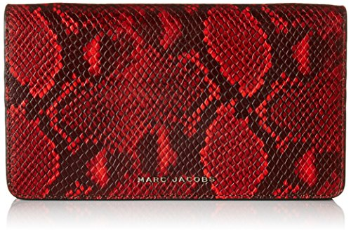 Marc By Marc Jacobs Leather Clutch (Marc Jacobs Block Letter Snake Wallet Leather Strap Clutch, Red Snake Multi, One size)