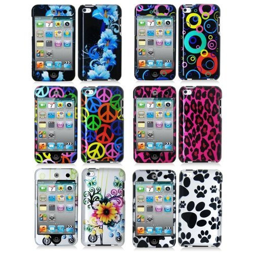 (6in1 Combo Design 2d Hard Snap-on Rubberized Skin Case Cover Accessory for Ipod Touch 4th Generation 4g 4 8gb 32gb)