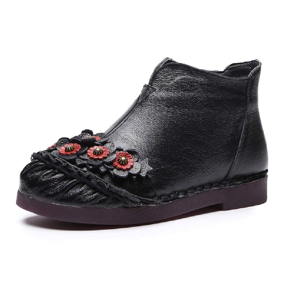 Gaslinyuan Handgemachte Blaumen-Frauen-Stiefel Flache Knöchelschuhe aus Leder (Farbe   Schwarz Größe   EU 38)