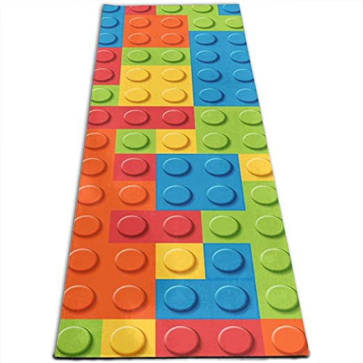 FGRYGF Workout Mat for Yoga, Colorful Building Blocks ...