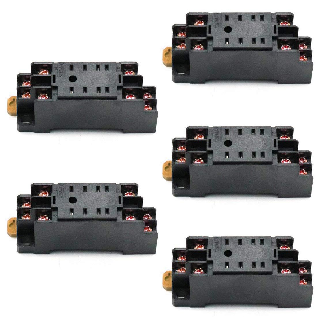 ZXHAO 35mm//1.38 inch DIN Rail Mount DYF08A 8Pin Relay Socket Base for MY2-J 5pcs