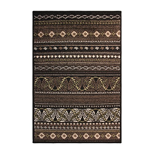 Superior Modern Twilight Collection Area Rug, 8mm Pile Height with Jute Backing, Contemporary Bohemian Stripe Pattern, Anti-Static, Water-Repellent Rugs - Black, 2' x 3' (Distressed Black Bath)