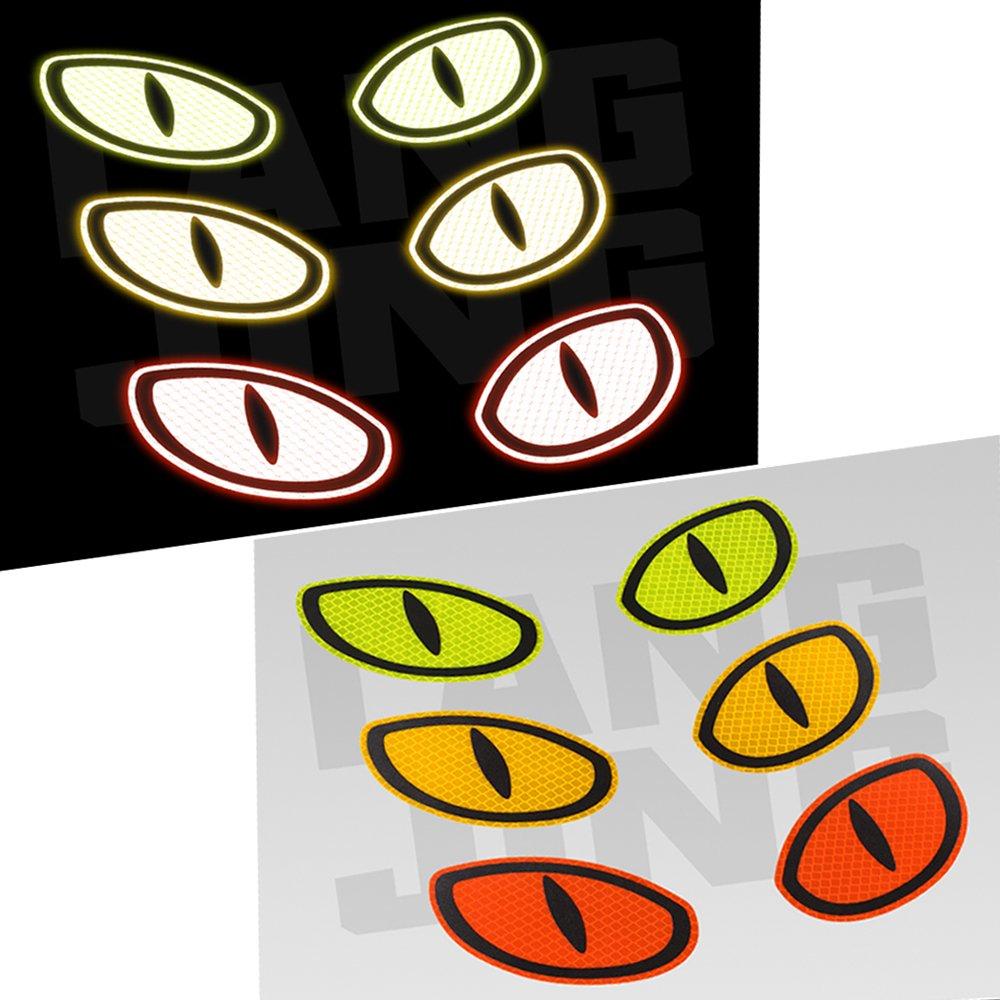 Orange YGMONER Reflective Eye Safety Warning Stickers Car Motorcycle Decoration