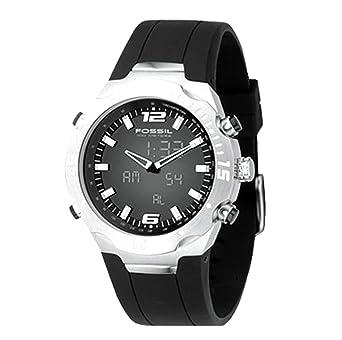 Fossil Mens BQ9353 Black Polyurethane Strap Black Analog-Digital Dial Watch
