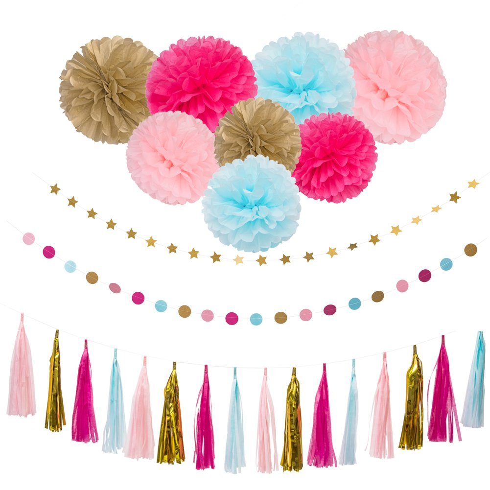 26Pcs Party Decoration Kit Rose Light Blue Pink Gold Tissue Paper Pom Poms Flower Tissue Paper Hanging Tassels Paper Garlands for Baby Shower Wedding Nursery Bridal Shower by Dream Party BOUTIQUE
