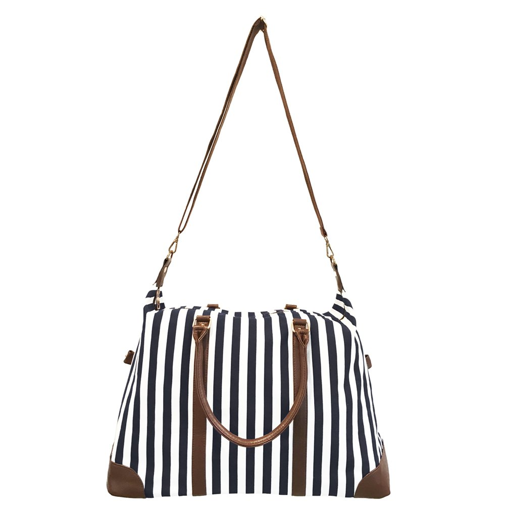 Cyber-Monday-Sale-2017, Holiday-Deals, Sales - Black Travel Tote, Lulu Dharma Womens Striped Weekender Bag, Duffle Bag, Overnight Bag, Travel Bag, Luggage, Suitcase, Oversized Bag, Carry On Luggage