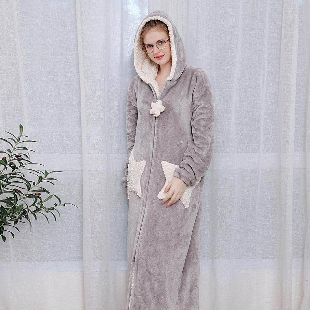 VJGOAL Albornoz con Capucha para Mujer Invierno Casual Moda Espesar cálido Coral Polar Bata Suelta Manga Larga Cremallera Ropa de Dormir Pijamas