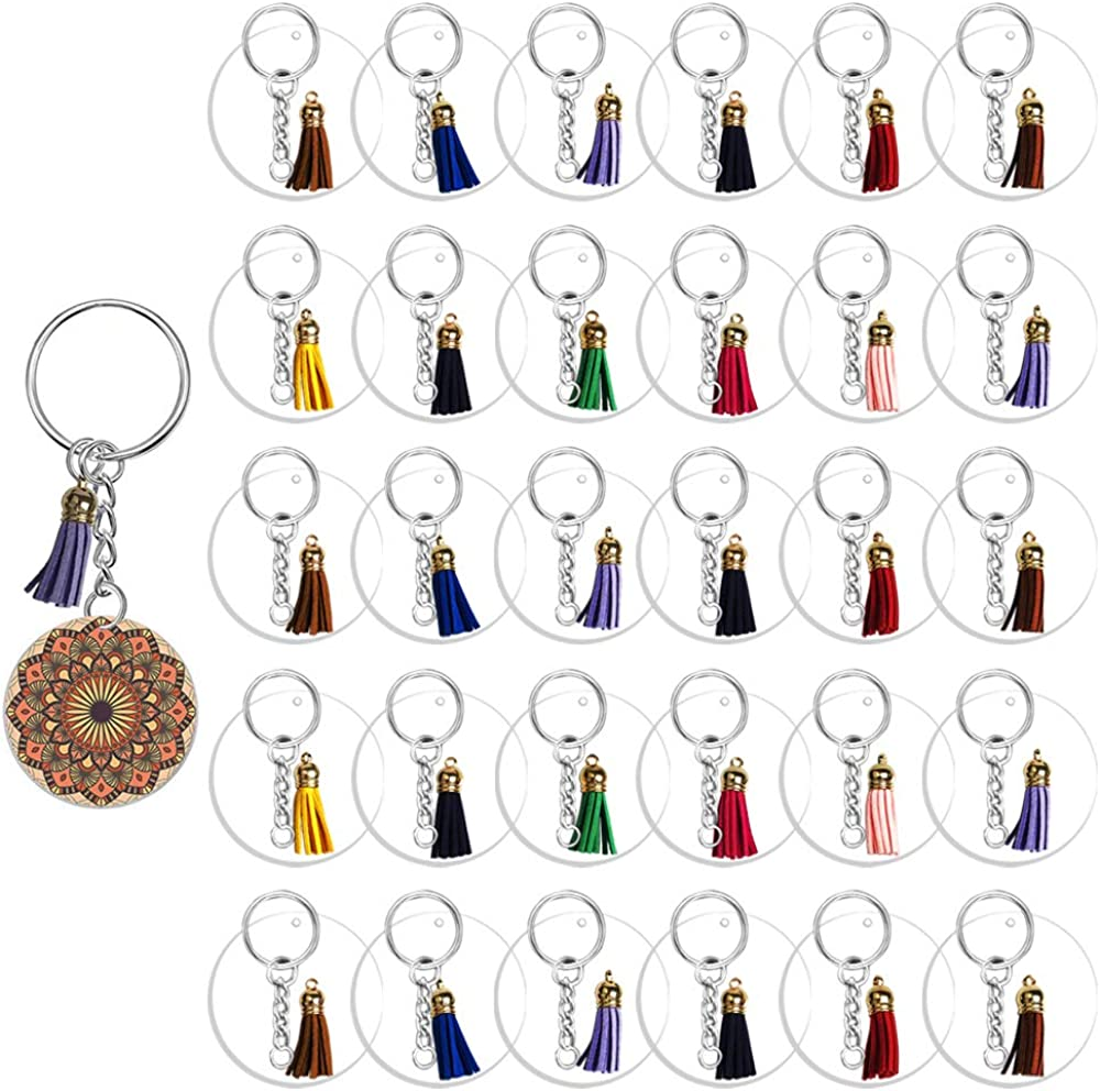 72//90PCS Clear Round Keychain Blanks with Tassel Pendants for DIY Keychain Craft