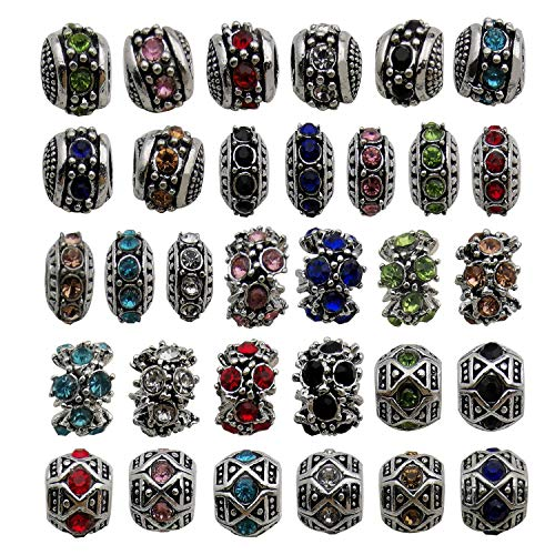 (32pcs Mixed Color Alloy Rhinestone Large Hole Flower European Beads for Jewelry Making Bracelet Necklace)