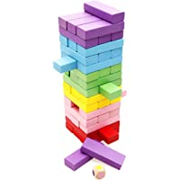 Magicwand® 54 Pcs Wooden Jenga Toy with Dices (Multi-Colored)