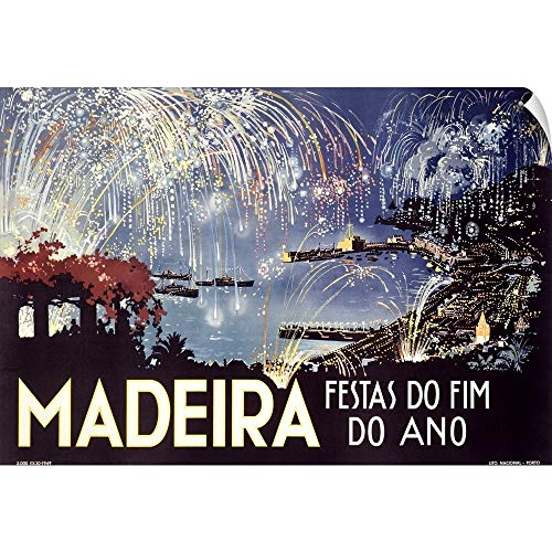 Canvas on Demand Wall Peel Wall Art Print Entitled Madeira, Festas do Fim Do Ano, Vintage Poster 60