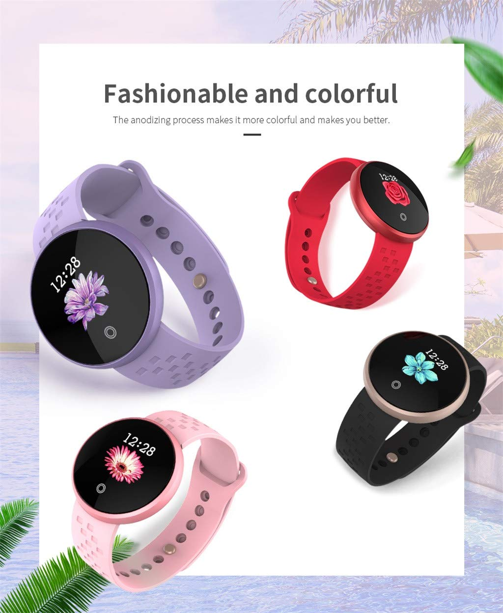 TADAMI Smart Wristbands Female Heart Rate Color Screen Physiological Period Reminds Fashion Smart Bracel (Pink) by TADAMI Blouse (Image #7)