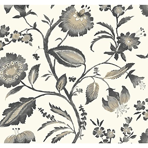 York Wallcoverings Tropics Watercolor Jacobean Removable Wallpaper, Off White/Light Grey/Dark Grey/Taupe/Light Tan