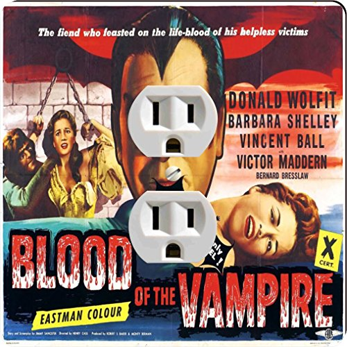 Rikki Knight 3703 Outlet Vintage Movie Posters Art Blood of Vampire 3 Design Outlet Plate by Rikki Knight