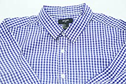 NUTEXROL Men Plaid Cotton Casual Slim Fit Long Sleeve Button Down Dress Shirts Royal Blue Large