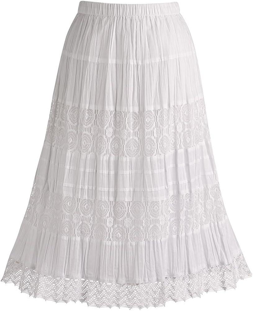 "CATALOG CLASSICS Women's White Peasant Skirt - Cotton Lace 26"" Tea Length"