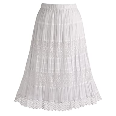 Long White Cotton Skirt - Dress Ala