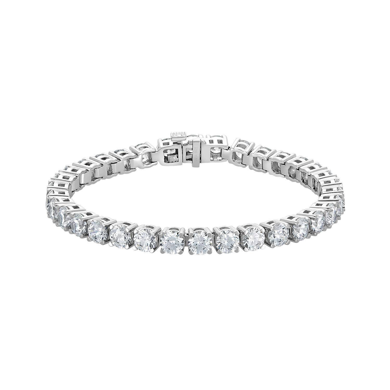NANA Silver Swarovski CZ Tennis Bracelet- 7'' - 5.0mm-17.50cttw Equivalent Diamond Weight-Platinum Plated