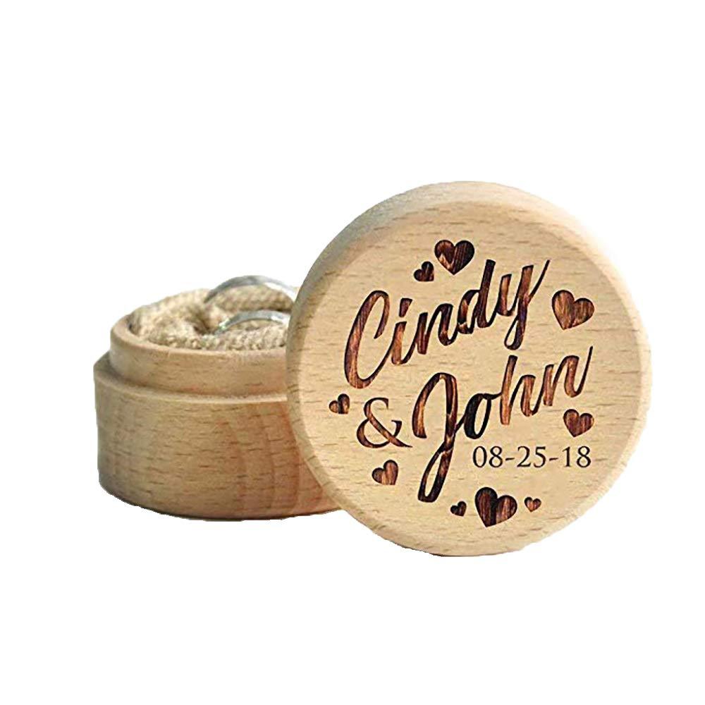 Hardon Personalisiert Ringbox Bambus Holz Ringkasten Mit Namen Und Datum Ringschatulle Hochzeit Dekoration