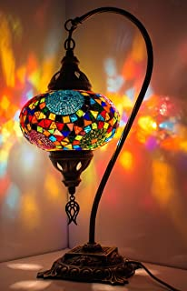 New* BOSPHORUS Stunning Handmade Swan Neck Turkish Moroccan Mosaic Glass  Table Desk Bedside Lamp Light