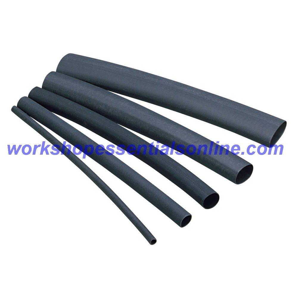 WEO Heat Shrink Tubing 3-1 Glue Lined Black Waterproofing Heatshrink Adhesive Tubing 6.4mm Length 1m
