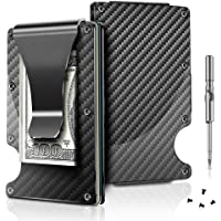 Carbon Fiber Wallet RFID Blocking Credit Card Holder Metal Wallet with Money Clip Screw Fixation Elastic Band Screwdriver