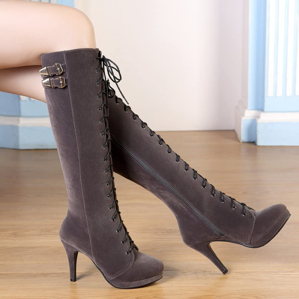 Womens Suede Buckle New Knee High Boots Chunky Block High Heel Shoes UK SZ35-43