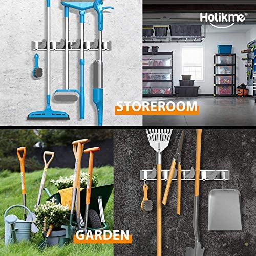Holikme Mop Broom Holder Wall Mount Metal Pantry Organization and Storage Garden Kitchen Tool Organizer Wall Hanger for Home Goods (4 Positions with 4 Hooks, Silver)    Product Description