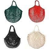 INTVN Mesh String Shopping Bag Cotton Reusable Net Grocery Bags Market String Bag for Fruit Vegetable Toys 4 Pieces