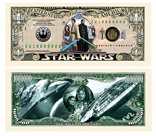 "5 Star Wars Million Dollar Bills with Bonus ""Thanks a Million"" Gift Card -"