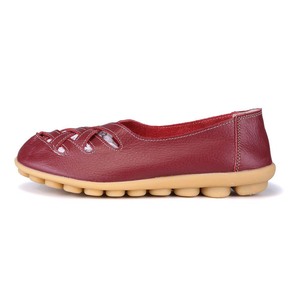 MXTGRUU Women's Casual Comfortable Walking Shoes with Criss Cross B07DJ9J3KX 8.5 B(M) US|Dark Red