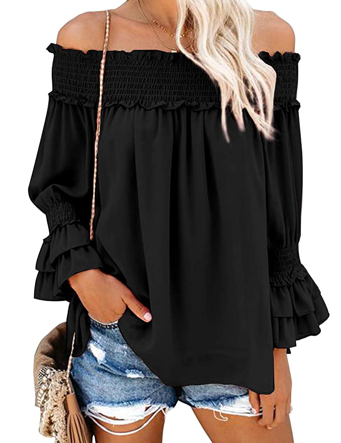 Blooming Jelly Mujer Off The Shoulder Tops Ruffle Blusa Chiffon Casual Shirt Loose Pullover