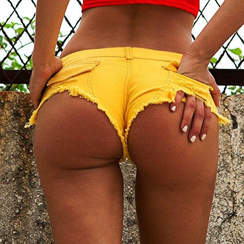 da sexy pantaloncini caldi donna estiva bicchierini discoteca XZP Mini Yellow pantaloni in tendenza signore per pantaloni denim le wHpXzqO