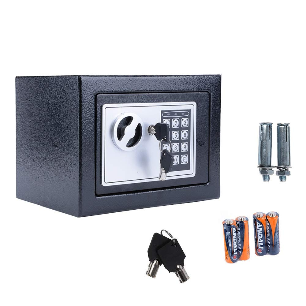 Electronic Digital Security Safe Box with Keypad, Safes and Lock Boxes for Hotel or Home (Black)
