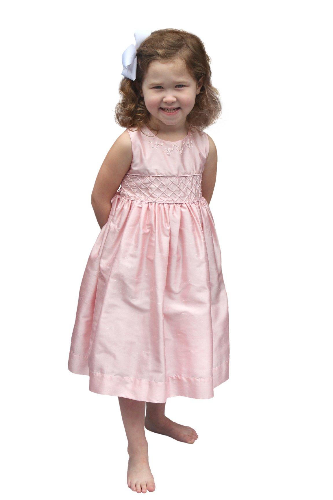 Strasburg Children Pink Flower Girl Dress 100% dupioni Silk Girls Designer Dresses Party Pageant (6)