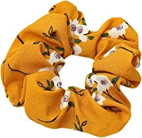Women Boho Elastic Hair Rope Ring Tie Scrunchie Ponytail Holder Hair Band Headband (Yellow)