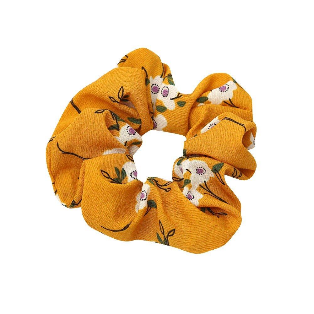 Women Boho Elastic Hair Rope Ring Tie Scrunchie Ponytail Holder Hair Band Headband (Yellow)