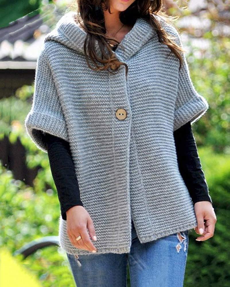 ORANDESIGNE Pull Gilets Femme Cardigan Tricot Couleur Unie Mode Court Tricot Veste /Él/égant /à Manches 1//2 Blouson Chic Manteau