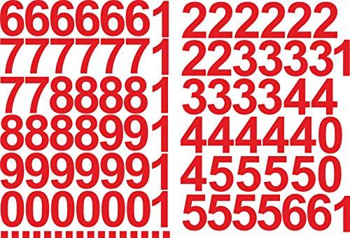Cijferstickers 5 cm hoog – in rood – 96 lijmbestellingen – zelfklevende cijfers en nummers 0-9 – ideaal voor gebruik…