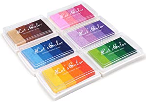 Craft Rainbow Finger Ink Pads Stamps Partner, Set of 6 DIY Multicolor Craft Stamp Pads for Kids Washable 24 Colors -Pink,Purple,Green,Blue