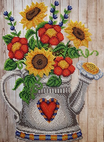 Bead Embroidery Needlepoint Handcraft kit Garden Watering Can Tapestry Beaded Cross Stitch kit Floral Pattern Beaded Stitching Bordado