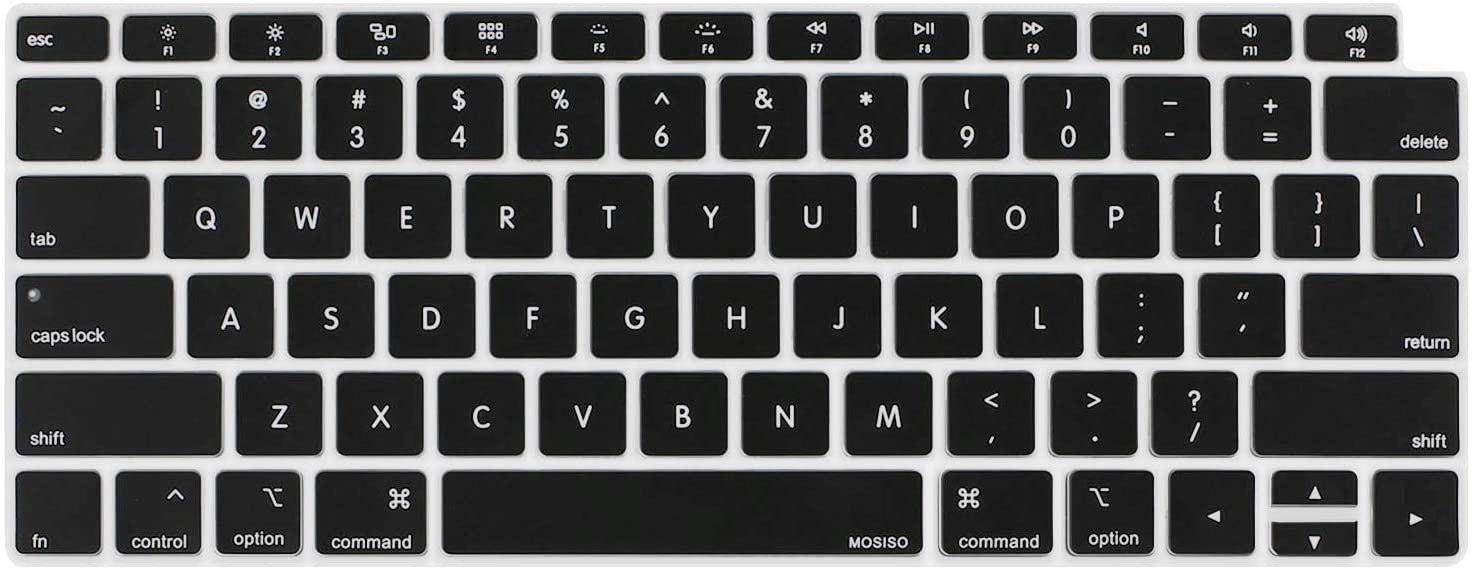 MOSISO Keyboard Cover Compatible with MacBook Air 13 inch 2019 2018 Release A1932 with Retina Display & Touch ID, Waterproof Dust-Proof Protective Silicone Skin, Black