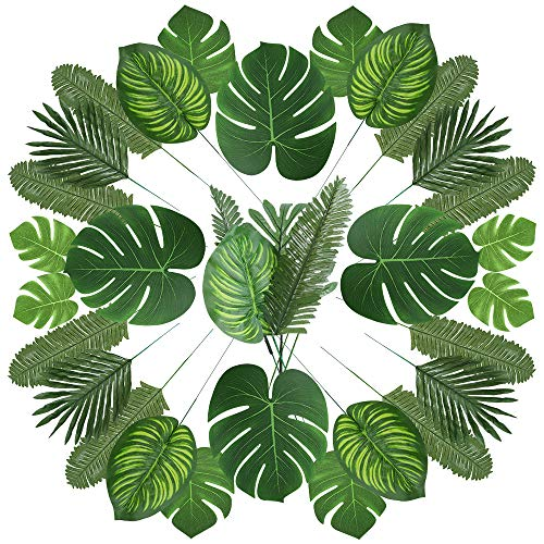 Auihiay 90 Pcs 6 Kinds Artificial Palm Leaves Hawaiian Party Decorations Tropical Plant Faux Leaves with Stem for Tropical Party Decorations Aloha Jungle Beach Birthday Party Palm Leaves Decorations]()
