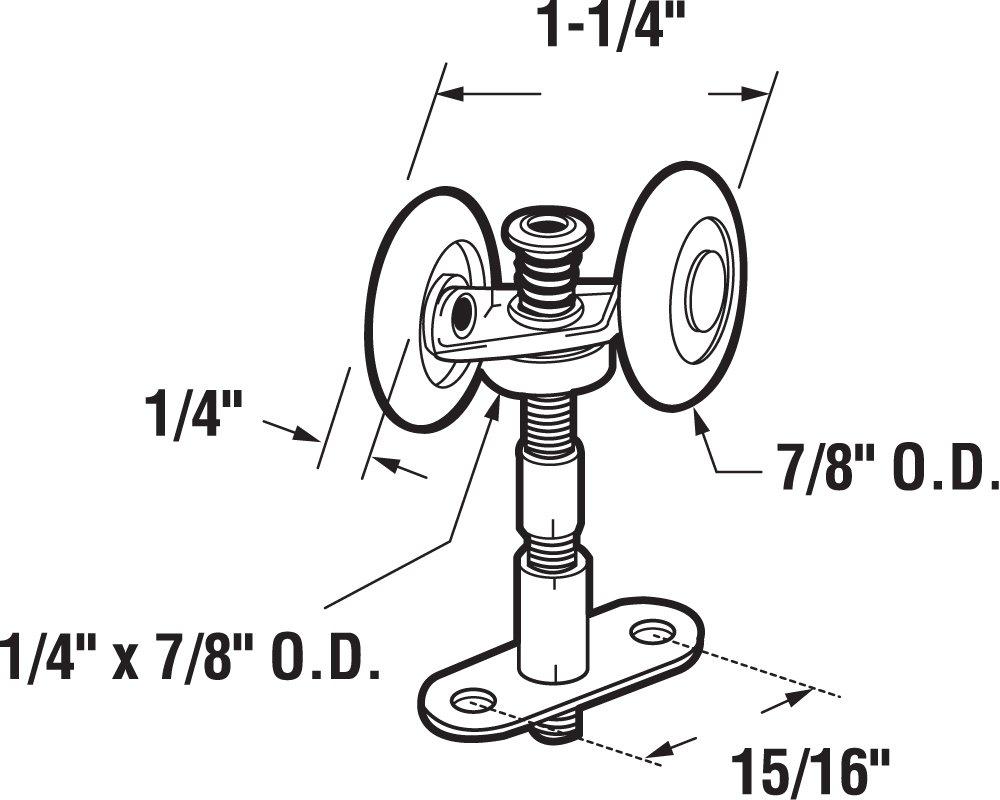 Slide-Co 163902 Bi-Fold Door Top Pivot and Guide Wheel, Pack of 2