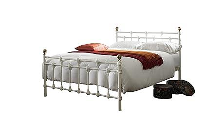 Oxford doble pequeña (4ft) Metal marco de la cama – blanco/oro (