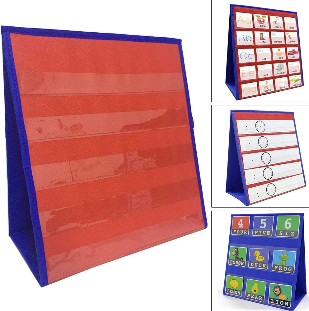 Desktop Pocket Chart Stand, Double Sided Self Standing Tabletop Small Pocket Chart for Classroom Home