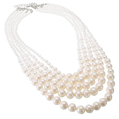 39c136bac Amazon.com: Jerollin Simulated Pearl Statement Necklace, Fashion Resin  White Pearls Strand 5 Layers Choker Dressy Bib Necklace fro Women: Jewelry