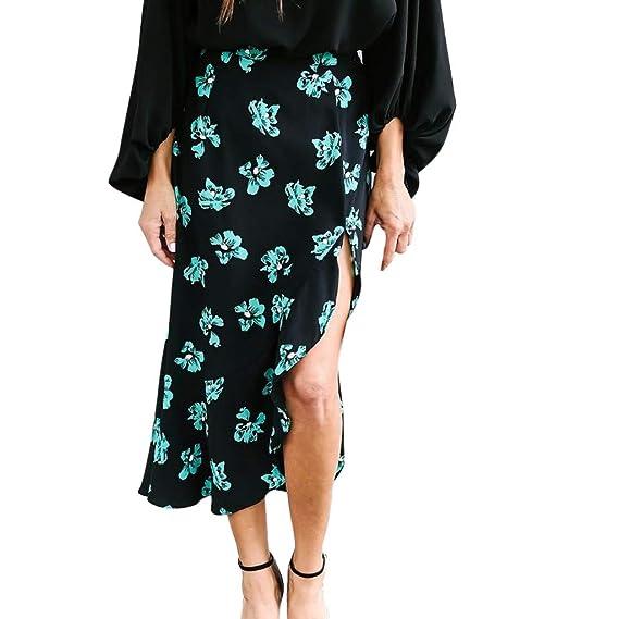 Vectry Moda Mujer Moda Sexy Mujer Floral Ruffles Impresión ...