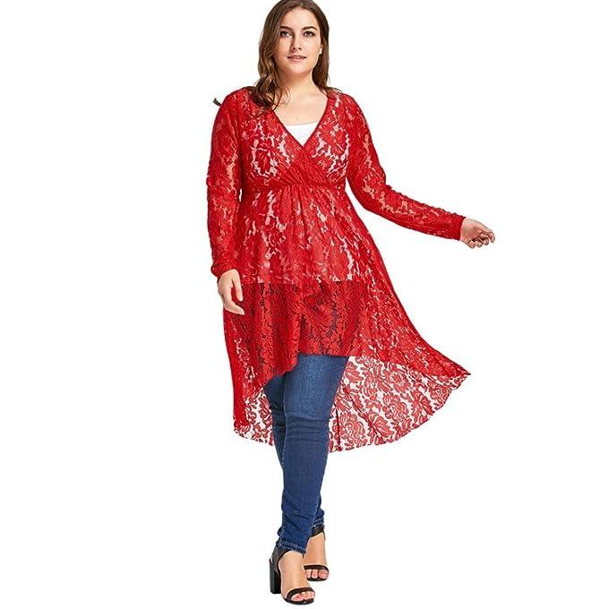 Yannerr Talla Grande Oversize Mujer Escote Pico Cruzado Semi Transparente Rojo Falda Manga Larga Encaje serigrafía